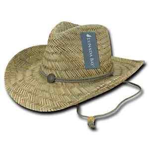 DECKY Straw Lifeguard Cowboy Hat Hats One Size Mens Womens Beach Natural