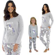 Ladies Girls Cotton  Born To Sparkle Unicorn Grey Pyjama Mini Me Matching PJ
