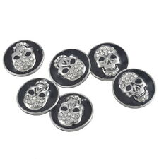 New Snap Button White RhinesBlack Enamel Skull Punk Unisex Bracelet 5x