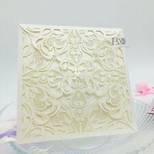 12 PCS Wholesale Ivory Laser Cut Wedding Invitation Cards Party Evening Favors