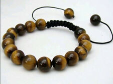 Men's Shambhala bracelet all 10mm NATURAL TIGER EYE STONE ROUND BEADS