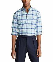 Polo Ralph Lauren Plaid Oxford Blue/Green Long Sleeve Shirt Men's SZ XL-Tall