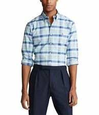Polo Ralph Lauren Plaid Oxford Blue/Green Long Sleeve Shirt Men's SZ 4XL-Tall