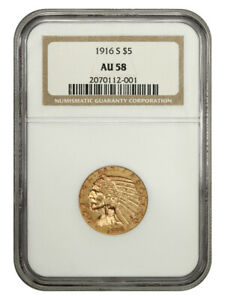 1916-S $5 NGC AU58 - Better S-Mint - Indian Half Eagle - Gold Coin