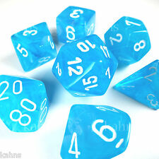 Chessex Dice Poly - Cirrus Light Blue w/ White Set of 7  27446 -Free Bag DnD