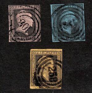 GERMAN STATES: PRUSSIA 1850 1, 2 & 3 SILBERGROSCHEN STAMPS, 4 MARGINS, FINE USED