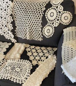 Lot of 23 Vintage/Modern Large Filet Lace Crochet Victorian Bobbin Doilies