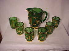 RARE 7 PC SET U.S. GLASS EAPG DELAWARE EMERALD GREEN GOLD WATER SET  -  NR