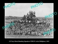 OLD POSTCARD SIZE PHOTO OF US NAVY BOMBING SQUADRON IN THE PHILLIPINES 1945