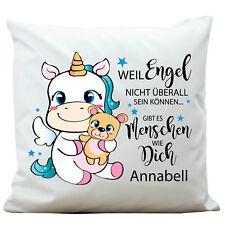 Deko Kissen Einhorn mit WUNSCHNAMEN Engel KP308 Freunde Pillow Polyester Unicorn