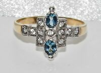 9ct Yellow Gold on Silver London Topaz Art Deco Style Cocktail Ring size N