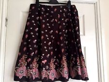 George Collection 100% Cotton Skirt size 16 Brown & Pink indi pattern & Sequins