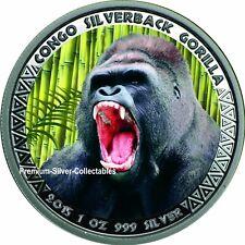2015 Republic of Congo Gorilla - 1 Ounce Pure Silver Colorized Series!