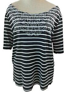 Rafaella knit top size XL black white short sleeve embroidered stripes