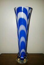 SUPERB ART GLASS VASE BLUE/ WHITE PATTERNED CASED 1960s/70s