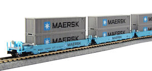 Kato-N MAERSK MAXI-I Double Stack Car 5 Unit Set #100043  (106-6199)  FREE Ship