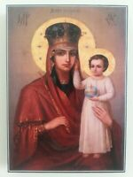 Icon of Holy Mary, Mother of Jesus on Wood, Orthodox Christian Iconography