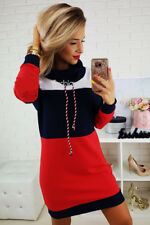 UK Womens Casual Hoodies Long Sweater Dress Jumper Winter Pullover High Neck Top