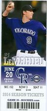 2014 Rockies vs Brewers Ticket: Jean Segura 2 HR/ Ryan Braun 1,000th career game