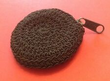 """Vintage Woman's Black Hand Croched Coin Purse 3"""" Diameter"""