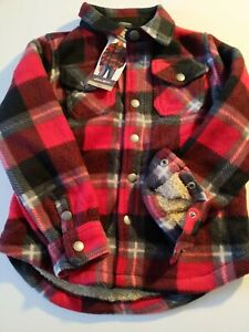 EDDIE BAUER SHIRT JACKET BOYS SHERPA-LINED SNAP-UP RED/BLACK/GRAY SIZE 4/5 NWT