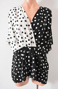 Grace Hill Top Size 16 Black White Polkadot Blouse Ezibuy