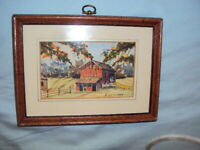 South Bend Indiana Artist Ed Lattimer Watercolor Painting Red Barn Original #64