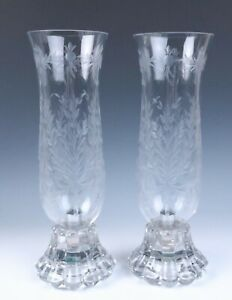 "Heisey 14.5"" Tall Pair Crystolite Etched Hurricane Candle Lamps Glass Holder"