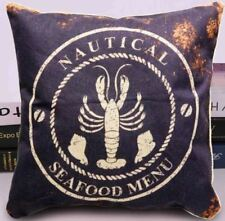 Cotton Linen Canvas Decorative Throw Pillow16x16 inches NAUTICAL (Multicolor)