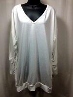 ZANZEA Womens V Neck Oversize Long Sleeve Blouse Shirt Size XL w/ Pockets White
