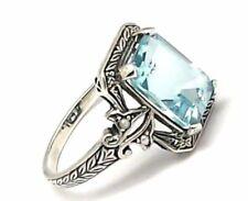 Anillos de joyería con gemas azul de plata de ley