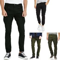 Jack & Jones Mens Cargo Pants Slim Fit Black Army Camo Green military Trousers