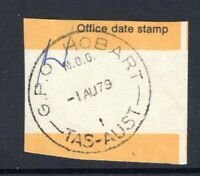 Tasmania GPO HOBART M.O.O. 1979 cancel on stampless piece rated R by Hardinge