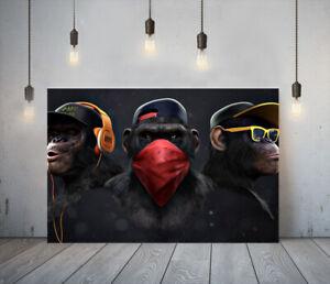 BANKSY 3 SWAG MONKEYS -DEEP FRAMED CANVAS WALL ART PICTURE PAPER PRINT- ORANGE