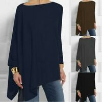 Womens Long Sleeve Irregular Sweatshirt Solid Loose Pullover Tops Casual Blouse