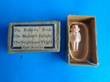 """1"""" Tiny Celluloid Or Plastic Doll In Tub- Original Box- Japan"""