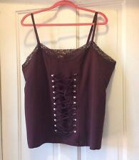 Fashion Bug Lace Up Corset Cami 26/28 Brown New NWOT Steampunk Pirate