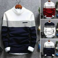 Neck Men's Coat Sweater Jumper Tops Casual Strip Knitwear Pullover Warm Round