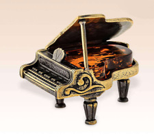 Miniature Bronze Figurine Piano amber sculpture art manual processing rare -