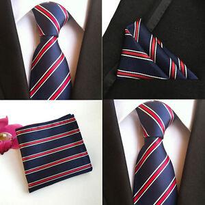 Men White Red Stripe Navy Blue Silk Tie Match Hanky Pocket Square Set Lot HZ101