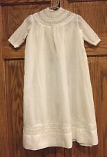 Antique vintage 1920s baby christening gown wht cotton voile with lace insets