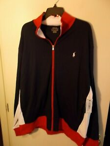 NWT Mens XXL Polo Ralph Lauren Navy/Red/White Full Zip Track Jacket New $125