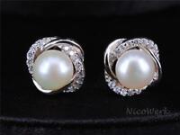 Perlenohrringe Blume Blüte Weiß Silber 925 Stecker Ohrstecker Ohrringe Perlen