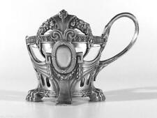 WMF Jugendstil Glashalter ° Straußenmarke ° art nouveau pewter tea glass holder