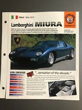 "1966 - 1973 Lamborghini Miura IMP ""Hot Cars"" Spec Sheet Folder Brochure L@@K"