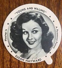 SUSAN HAYWARD FILM STAR ,DIXIES ,GRISHAMS ICE CREAM LID 1943