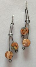 Clay Earrings Handmade Pierced Unique New Double Drop Copper Rust Brown Mosaic