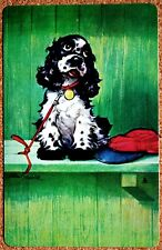 DOG - SPANIEL - BUTCH -AT THE GAME WITH CAP- SINGLE VINTAGE SWAP PLAYING CARD