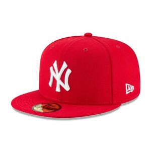 New York Yankees New Era 59FIFTY 5950 Fitted Wool Cap Hat Scarlet Red Size 8 1/8