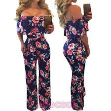 Overall donna tuta intera spalle nude floreale pantaloni jumpsuit nuova DL-2137